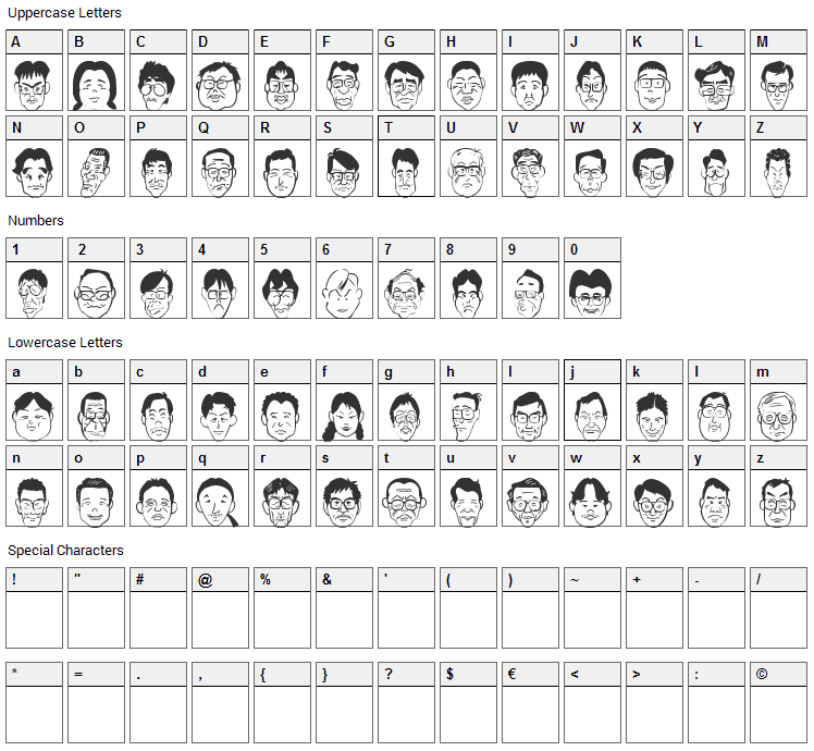 Sakabe People 03 Font Character Map
