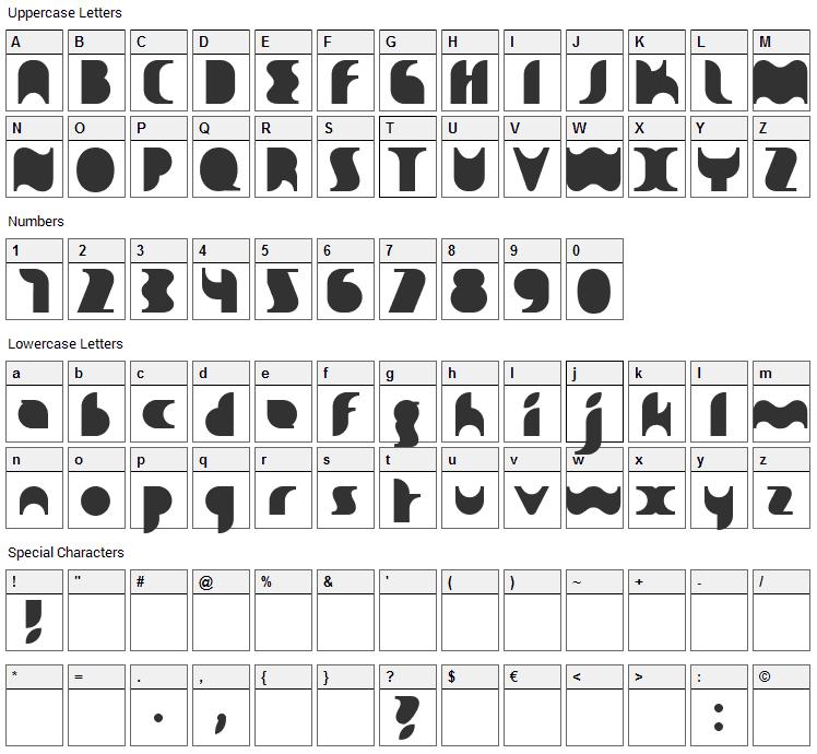 Sakiane Font Character Map