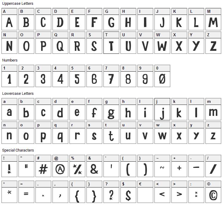 Sala de Fiestas Font Character Map