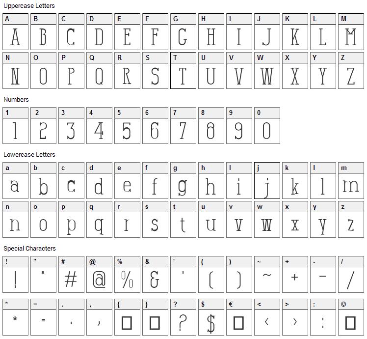 Salamandre Font Character Map