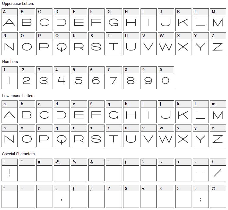 Salaryman Font Character Map