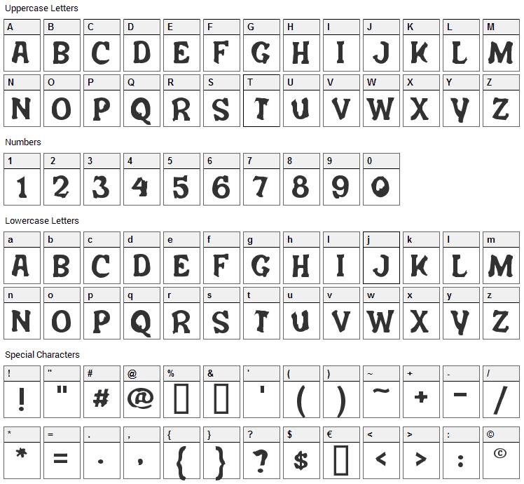 Salem Ergotism Font Character Map
