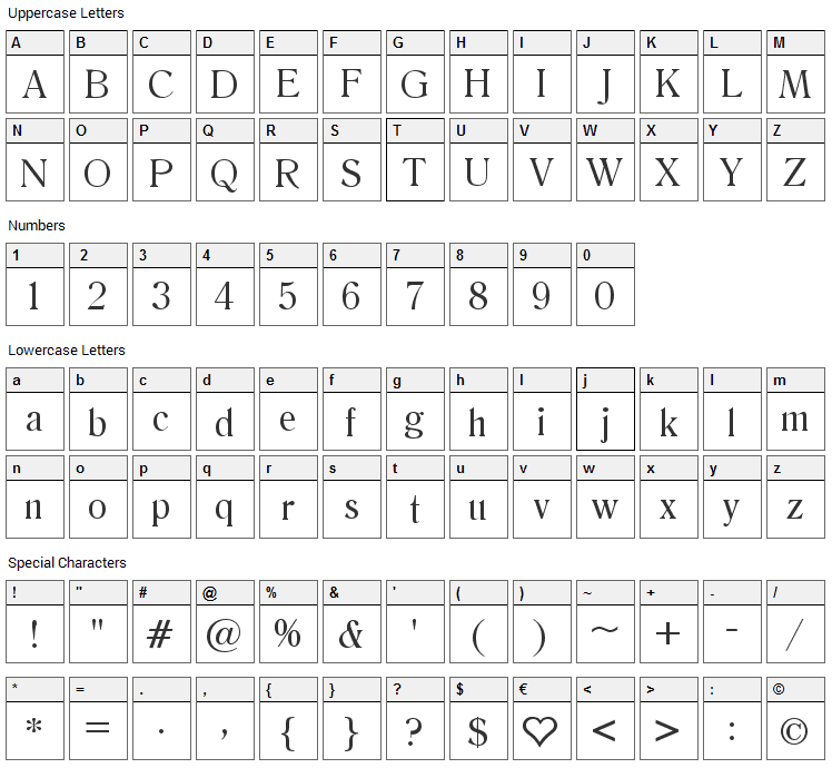 Salernomi J Font Character Map