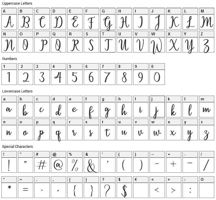Sallita Font Character Map