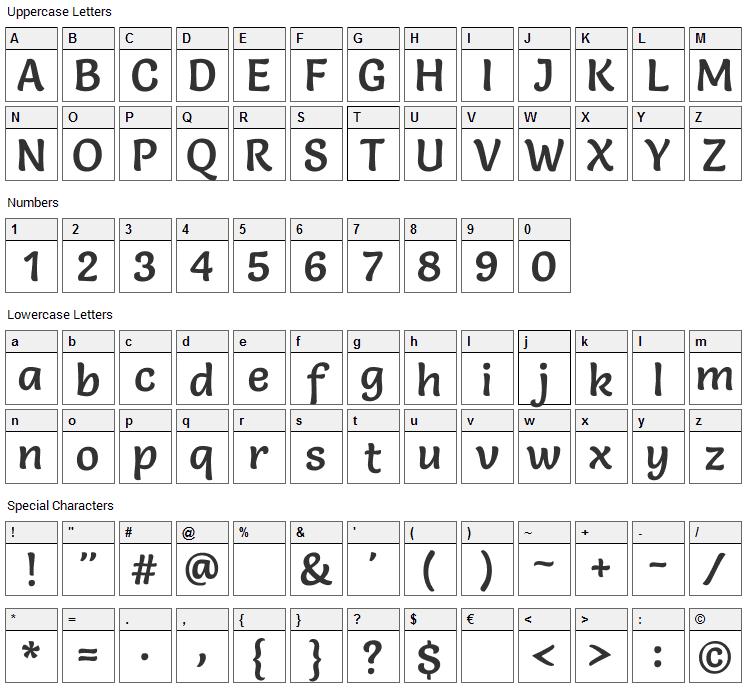 Salsa Font Character Map
