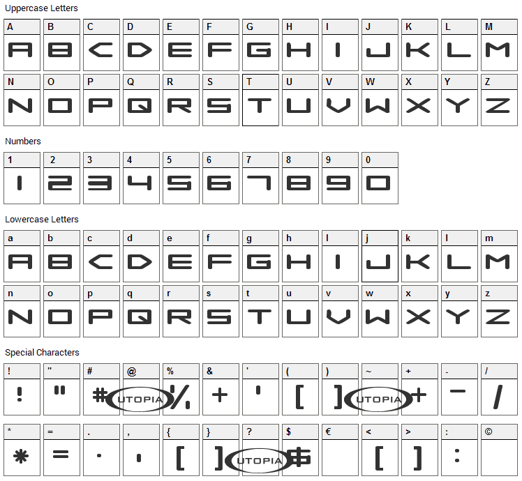 Samba is dead Font Character Map
