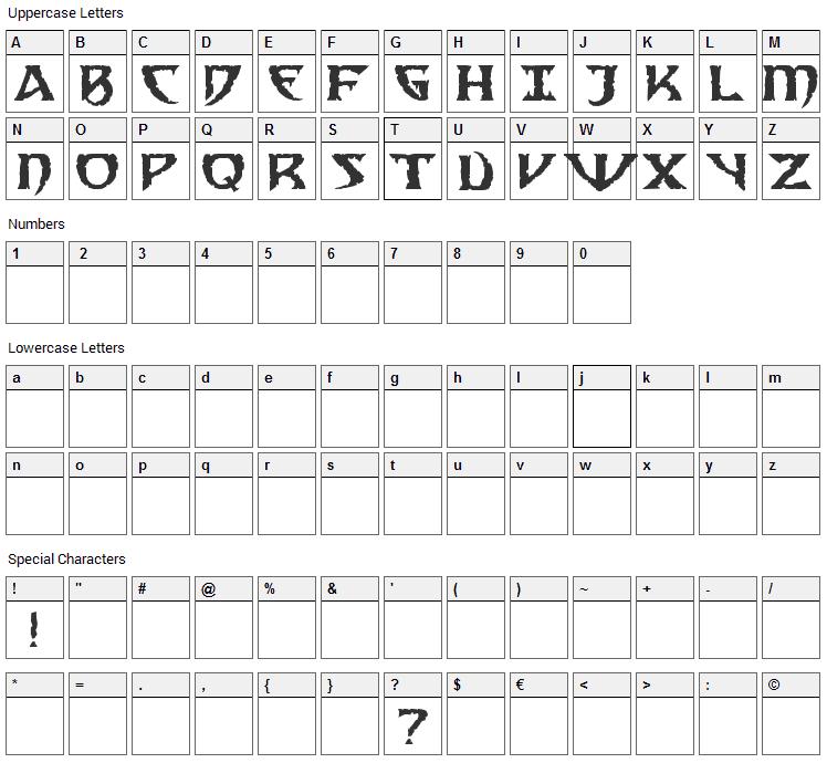 Samedi Font Character Map