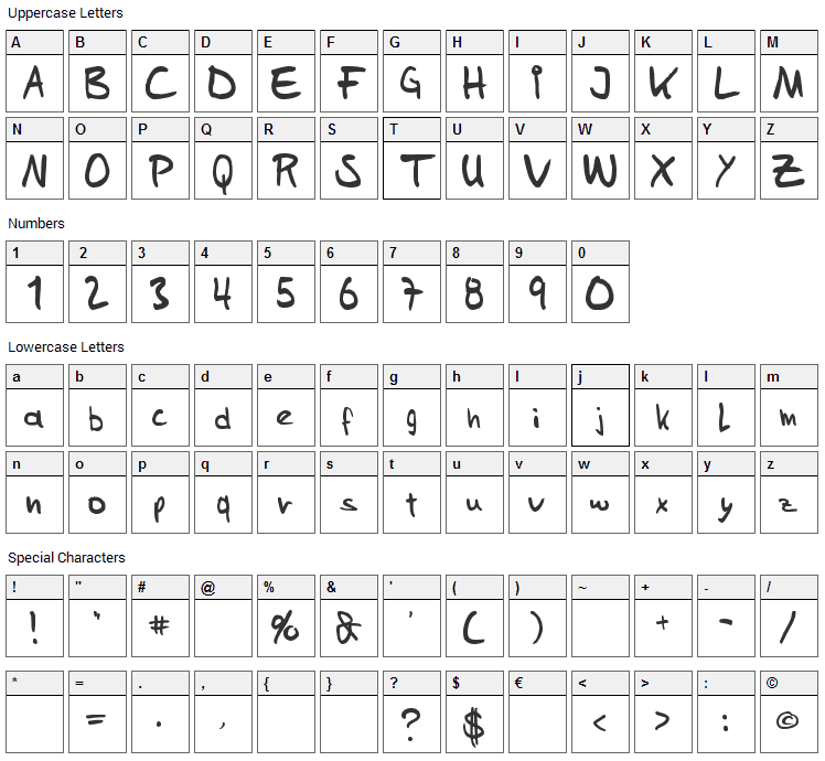 Sams Handwriting Font Character Map
