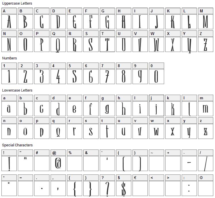 Sancho Font Character Map