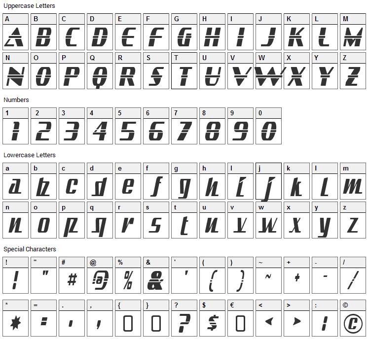 Sandoval Font Character Map