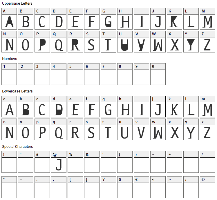 Saneserif Font Character Map
