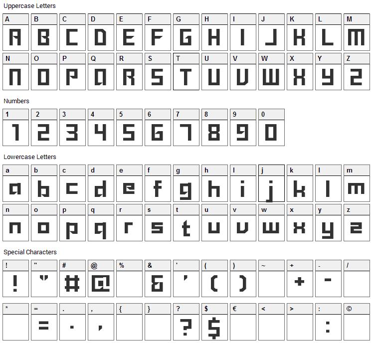 Sanidana Font Character Map