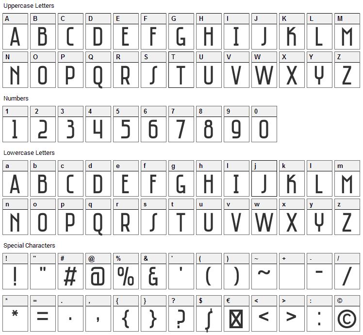 Saniretro Font Character Map