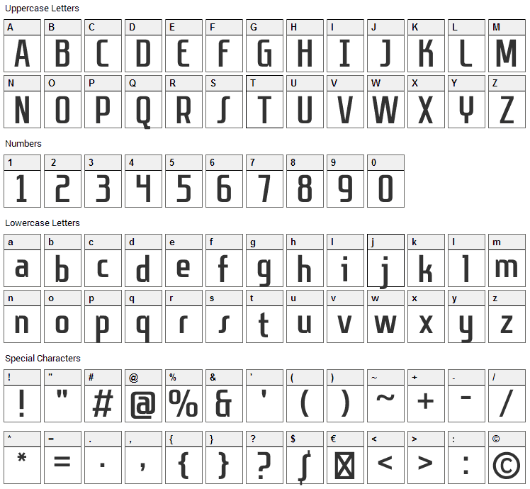 Sanitechtro Font Character Map