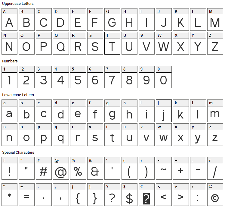 Sanitrixie Font Character Map