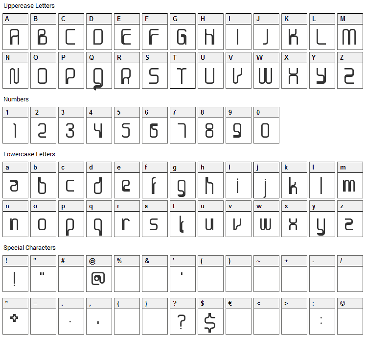Sanjaya Epoch Font Character Map