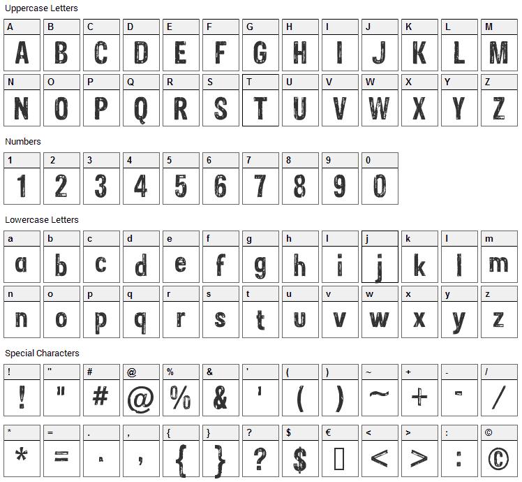 Sans Culottes Font Character Map