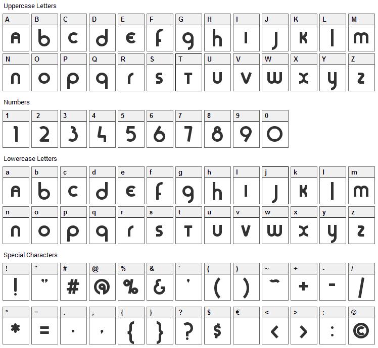 Sans Sara Font Character Map
