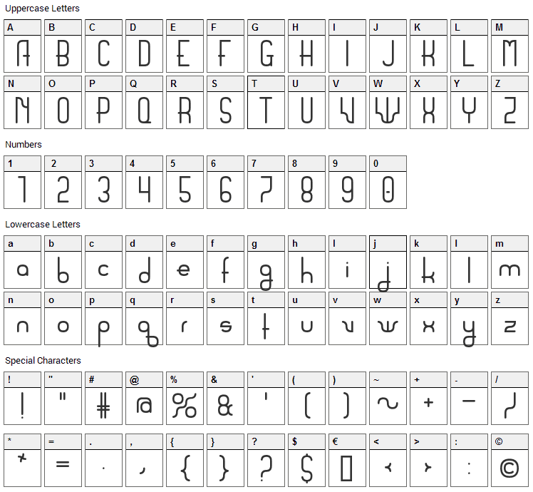 Sanserifing Font Character Map