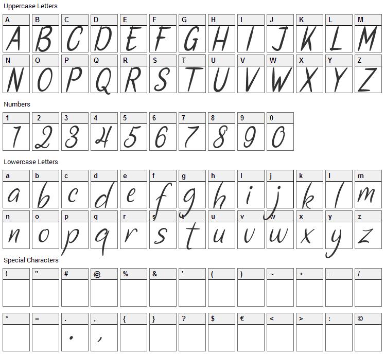 Santa Fe Font Character Map