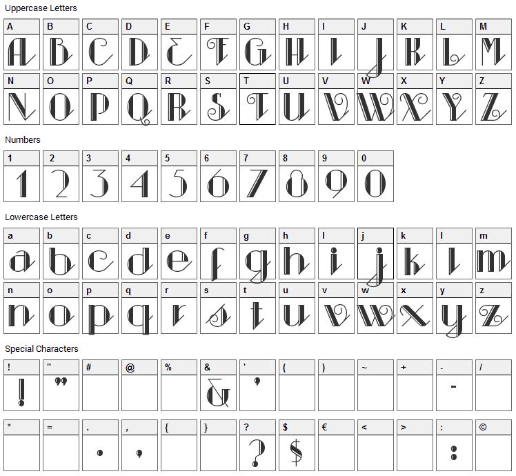 Sarsaparilla Font Character Map