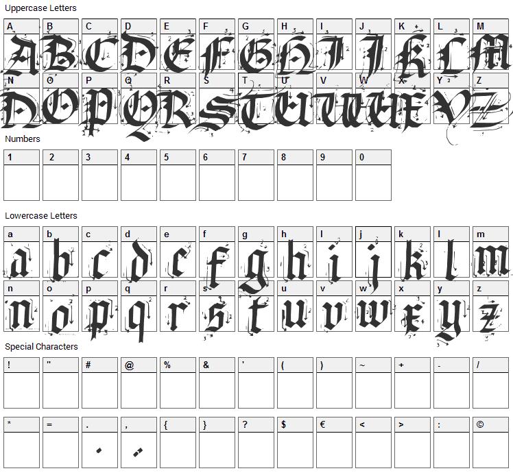 Satanas Humanum Salvator Font Character Map