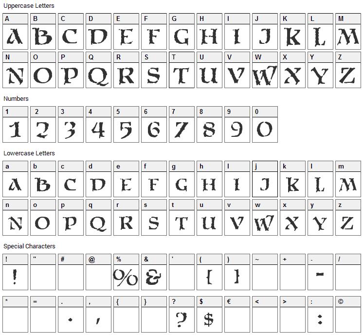Satans Minions Font Character Map