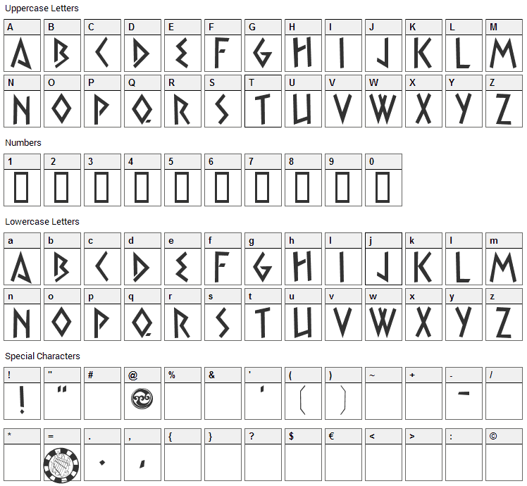 Satyr Font Character Map