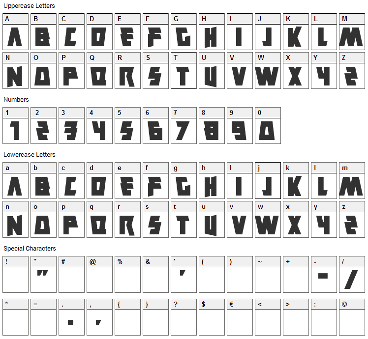 Savantism Font Character Map