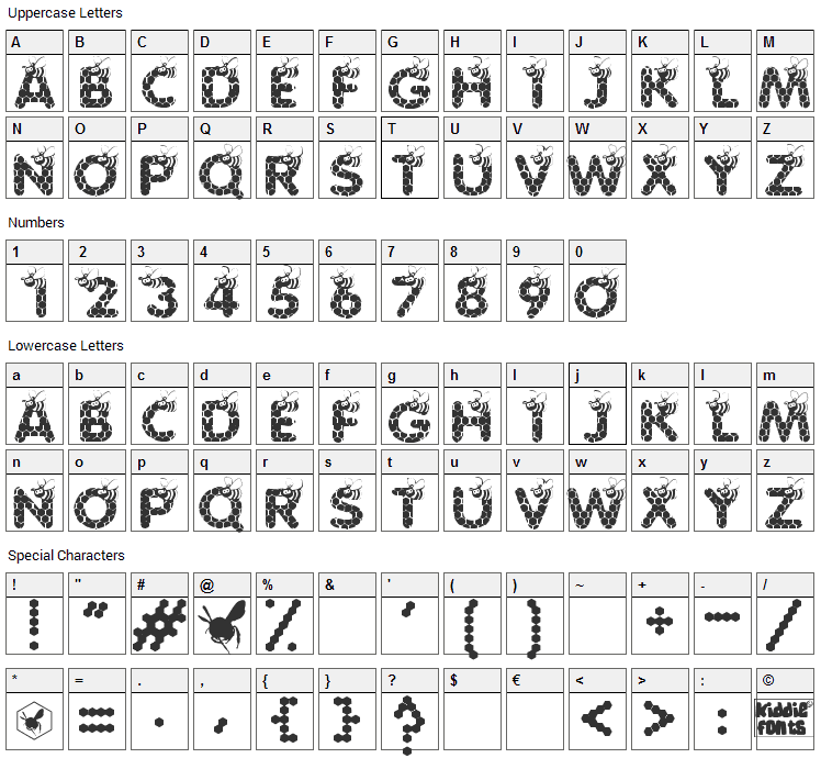 Save The Honeybee Font Character Map