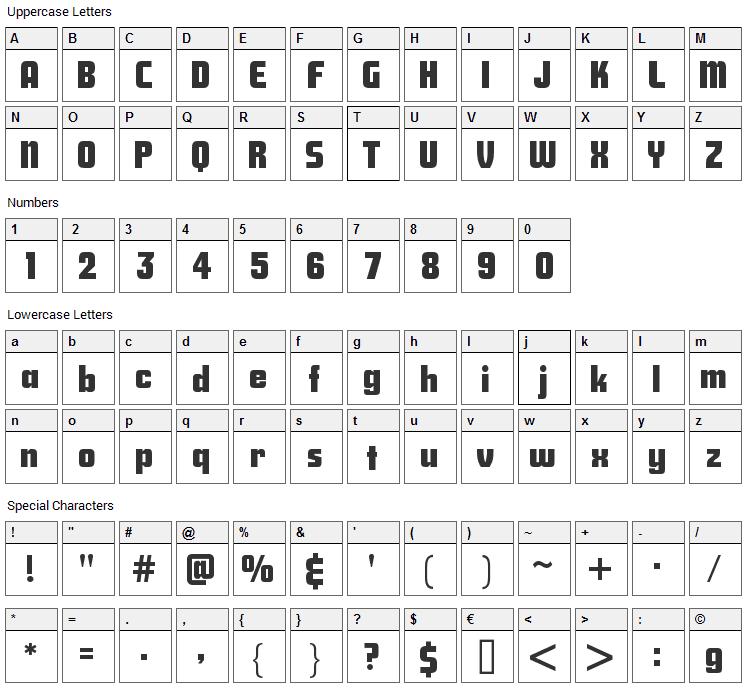 Savings Bond Font Character Map