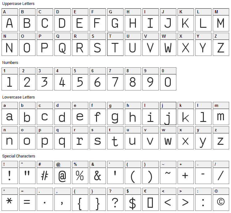 SaxMono Font Character Map