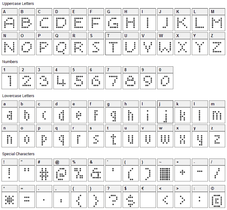 Sayso Chic Font Character Map