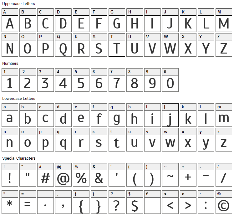 Scada Font Character Map