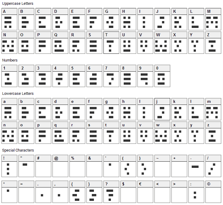 Scanline Font Character Map