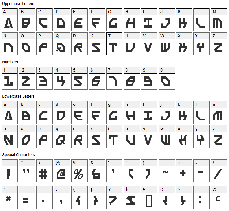 Scarab Script Font Character Map