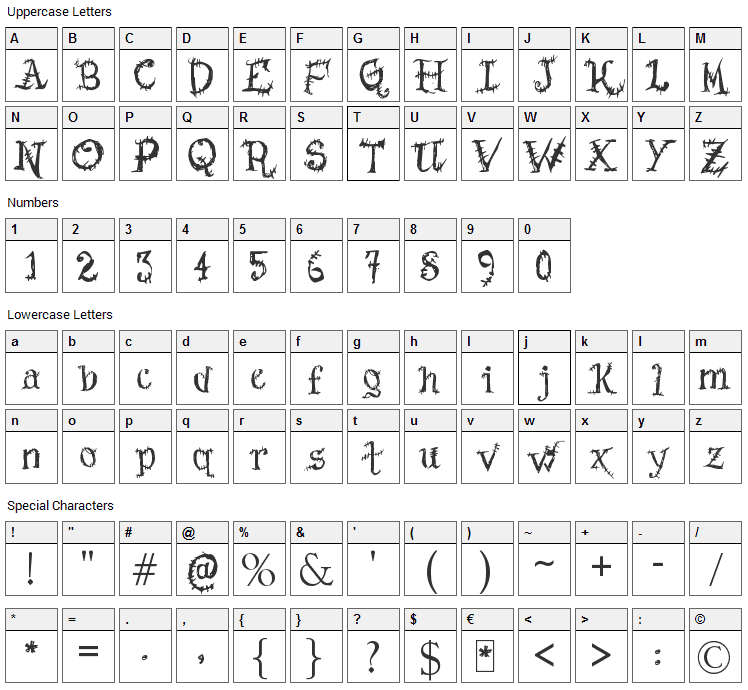 Scars Before Christmas Font Character Map