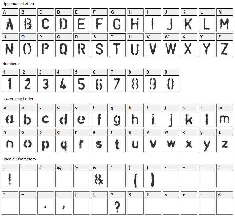 Schablona Dirt Font Character Map