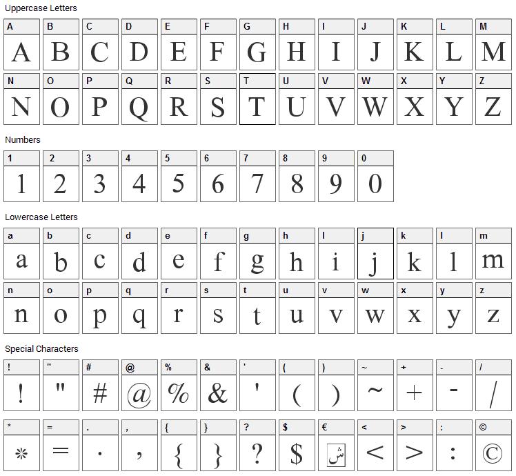 Scheherazade Font Character Map