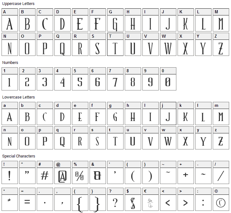 Schindlers Font Font Character Map