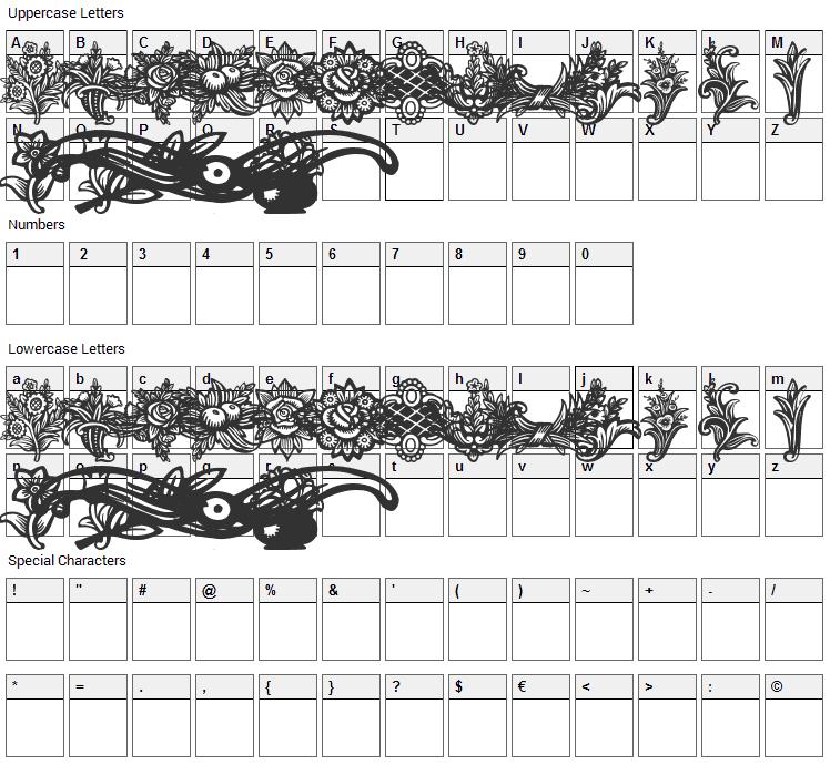 Schluss Vignetten Font Character Map