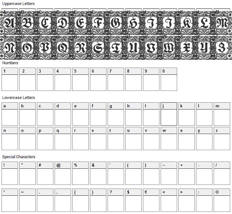 Schmuck Initialen Font Character Map