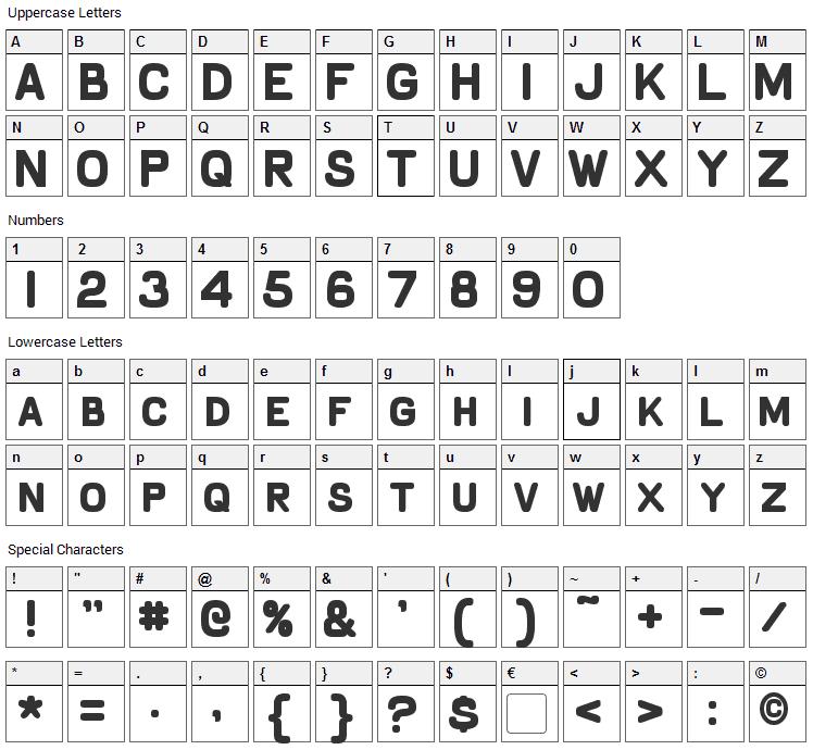 Schnaubelt Font Character Map