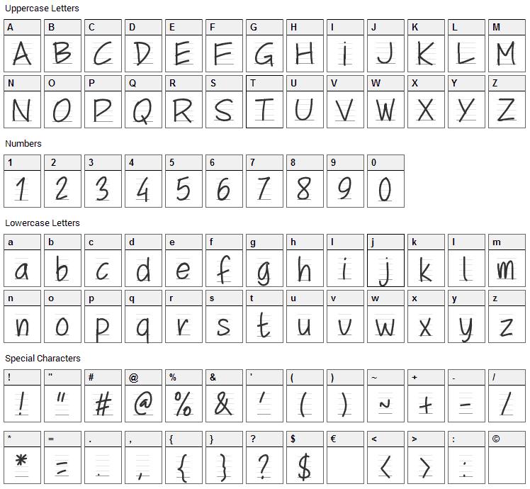 School Script Font Character Map