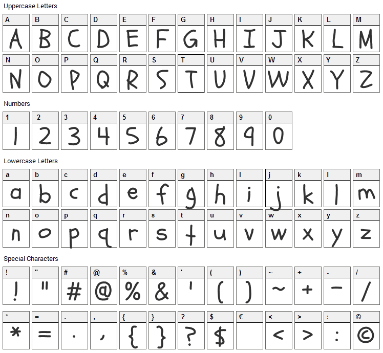 Schoolbell Font Character Map