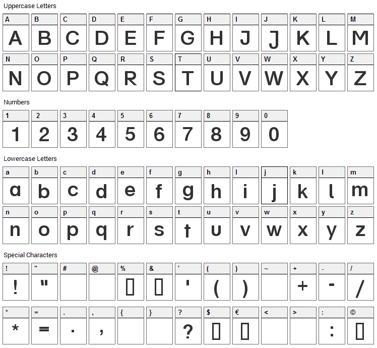Schul Vokal Font Character Map