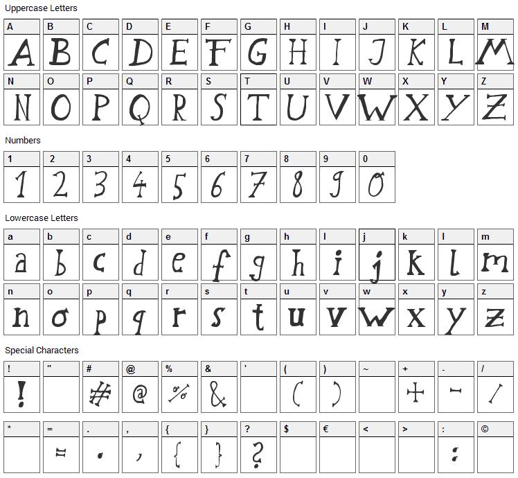 Schwabstrasse Font Character Map