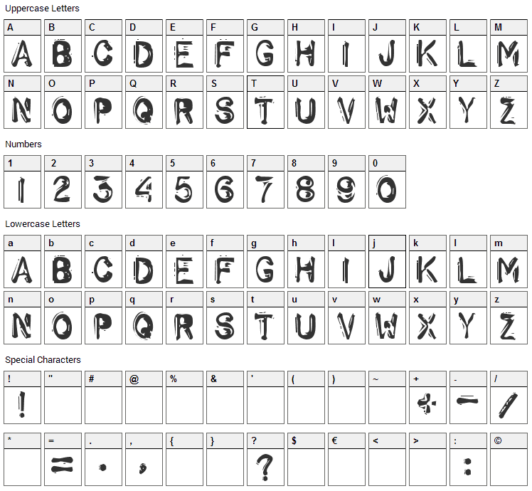 Schwarz Font Character Map