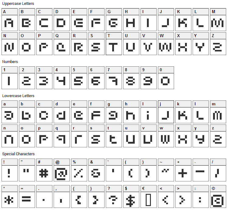 Sci Fied Bitmap Font Character Map