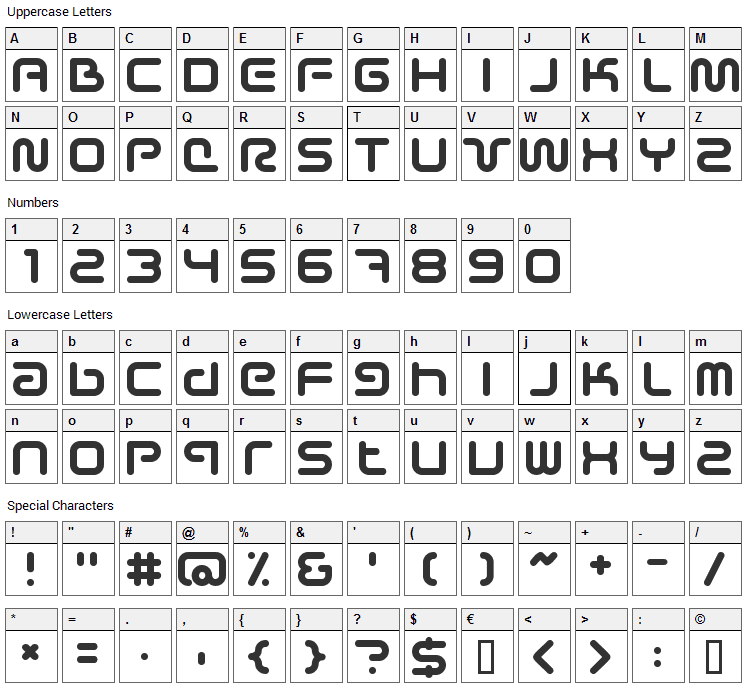 Sci-Fied Font Character Map